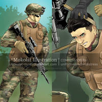 The soldier by Mokolat-Illustr