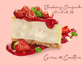 Strawberry Cheesecake Digital Painting by Gina-101-Creative