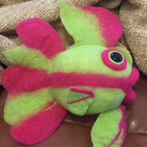 pink and green felted fish
