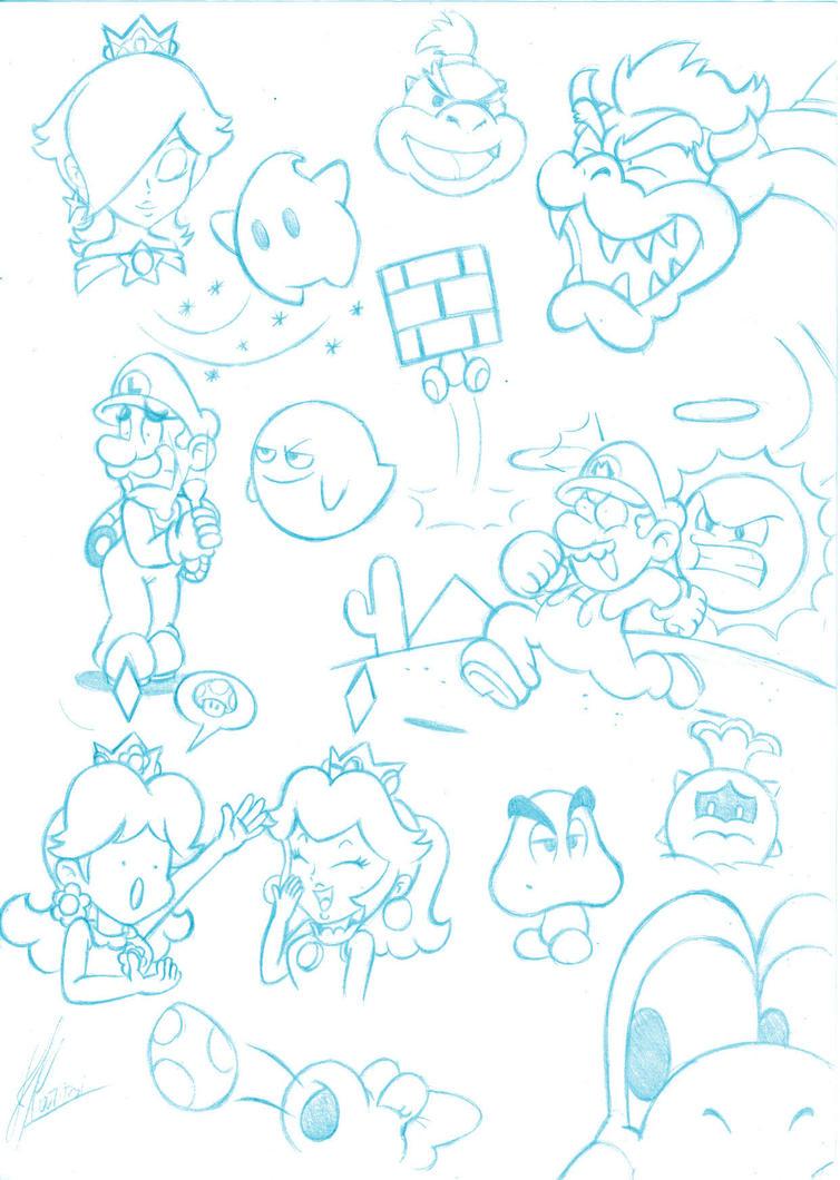 Mario doodles 2 by MKDrawings