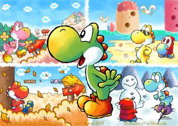 Yoshi's Island - Seasons by MKDrawings