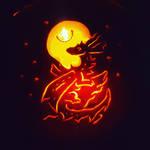 Moonburst Dragon Jack o lantern  by Ozzymodan