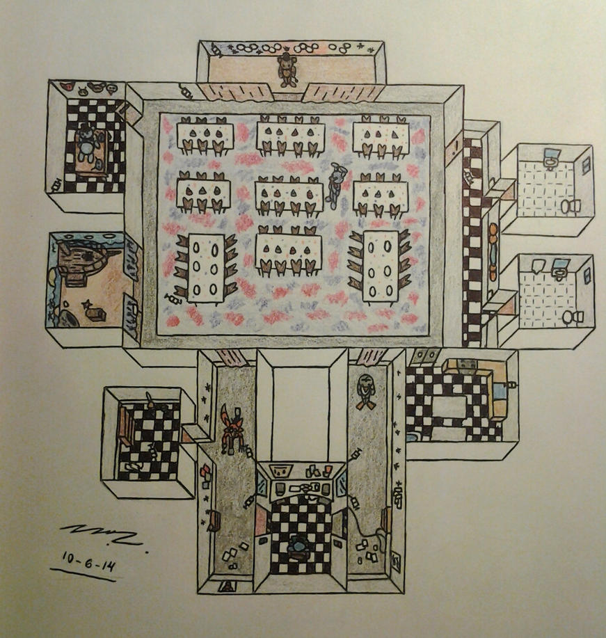 Fnaf1 map layout during gameplay by sega htf on deviantart for Draw room layout