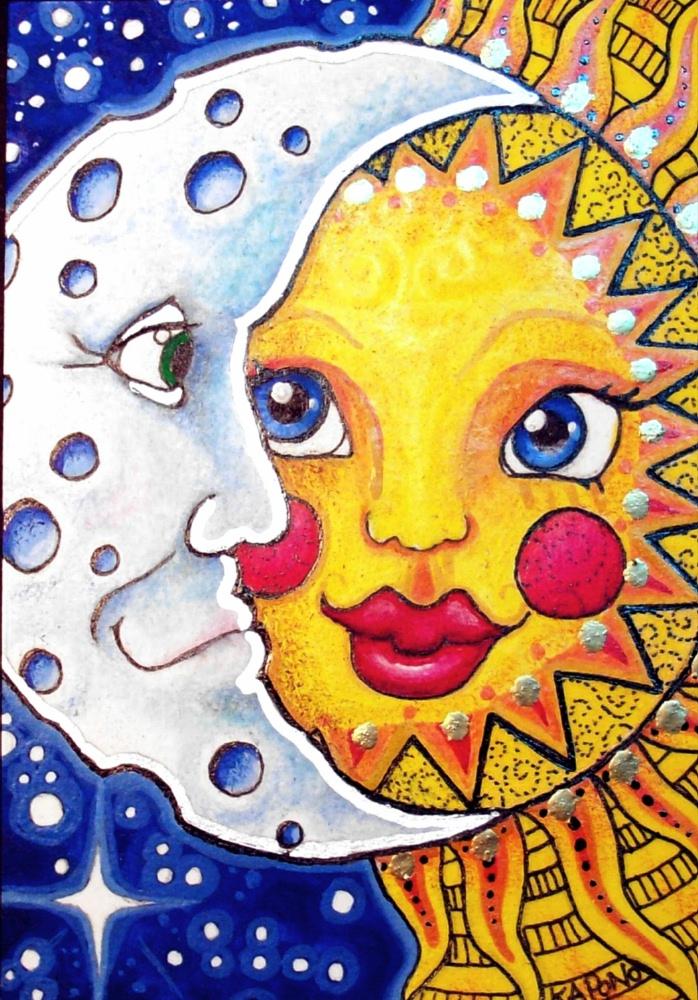 ACEO Celestial Sun and Moon by MandarinMoon on DeviantArt