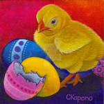 Easter chick and eggs acrylic