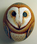 Barn owl egg ornament