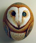 Barn owl egg ornament