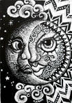 ACEO scratchboard Sun and Moon