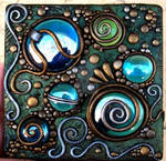 Polymer clay on acrylic tile