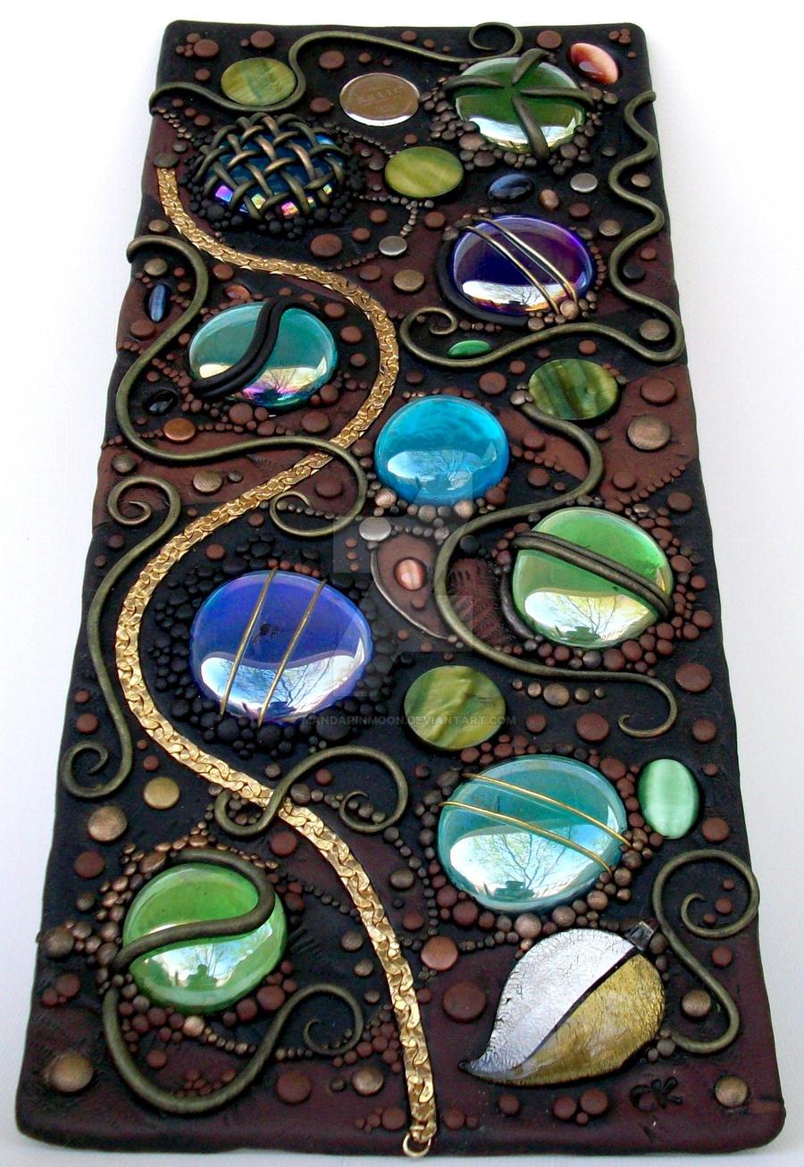 Tall Mosaic tile polymer clay by MandarinMoon