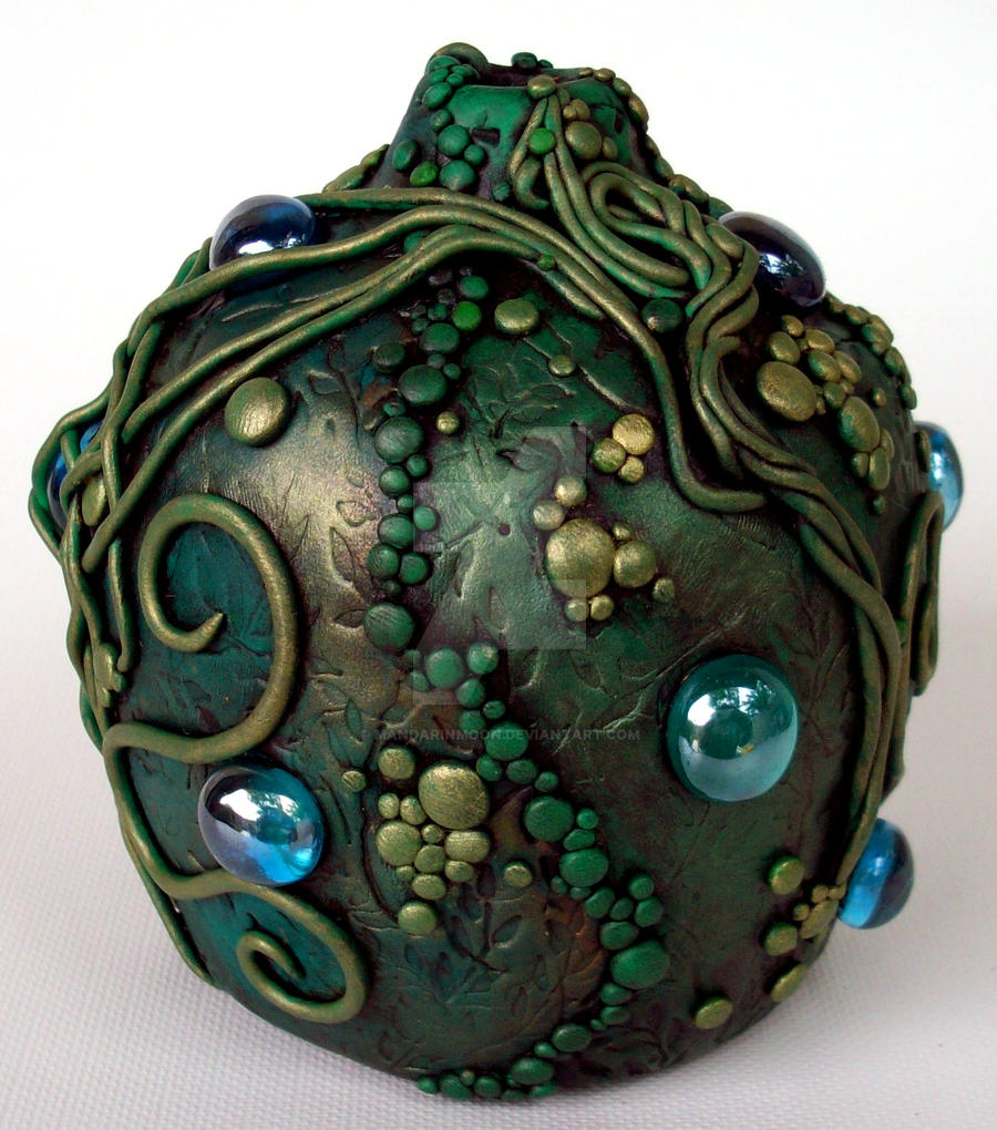 Polymer clay Green Vine Vase by MandarinMoon