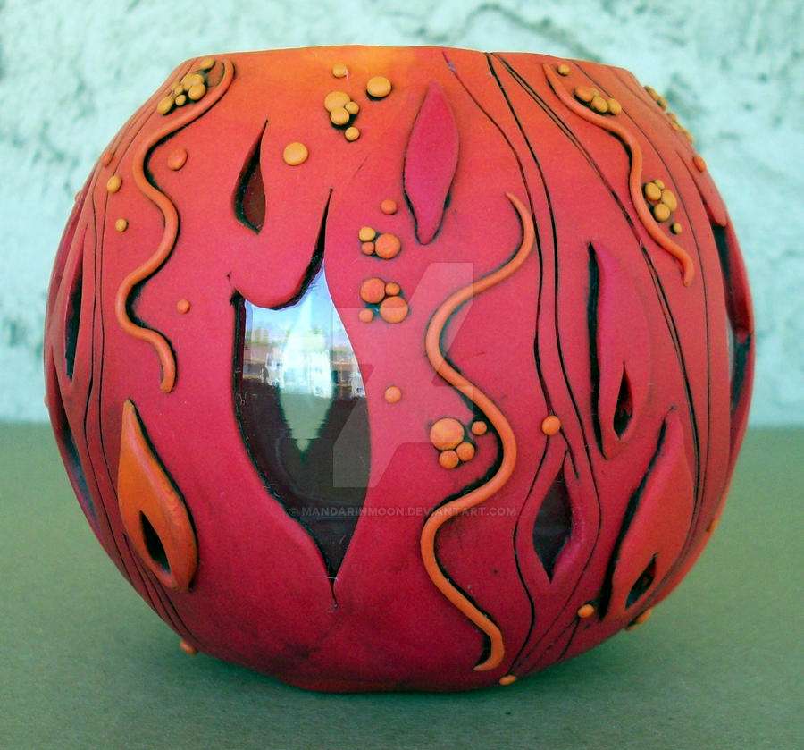 Flame Polymer Clay Vase