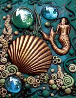 ACEO Mermaid and Scallop Shell by MandarinMoon