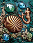 ACEO Mermaid and Scallop Shell