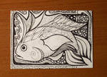 Fanciful Fish Pen and Ink ACEO