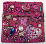 Magenta Hearts Art Tile