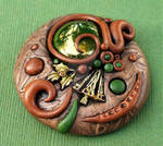 Clay Cabochon with Holly