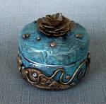 Blue Gold Rose Trinket Box