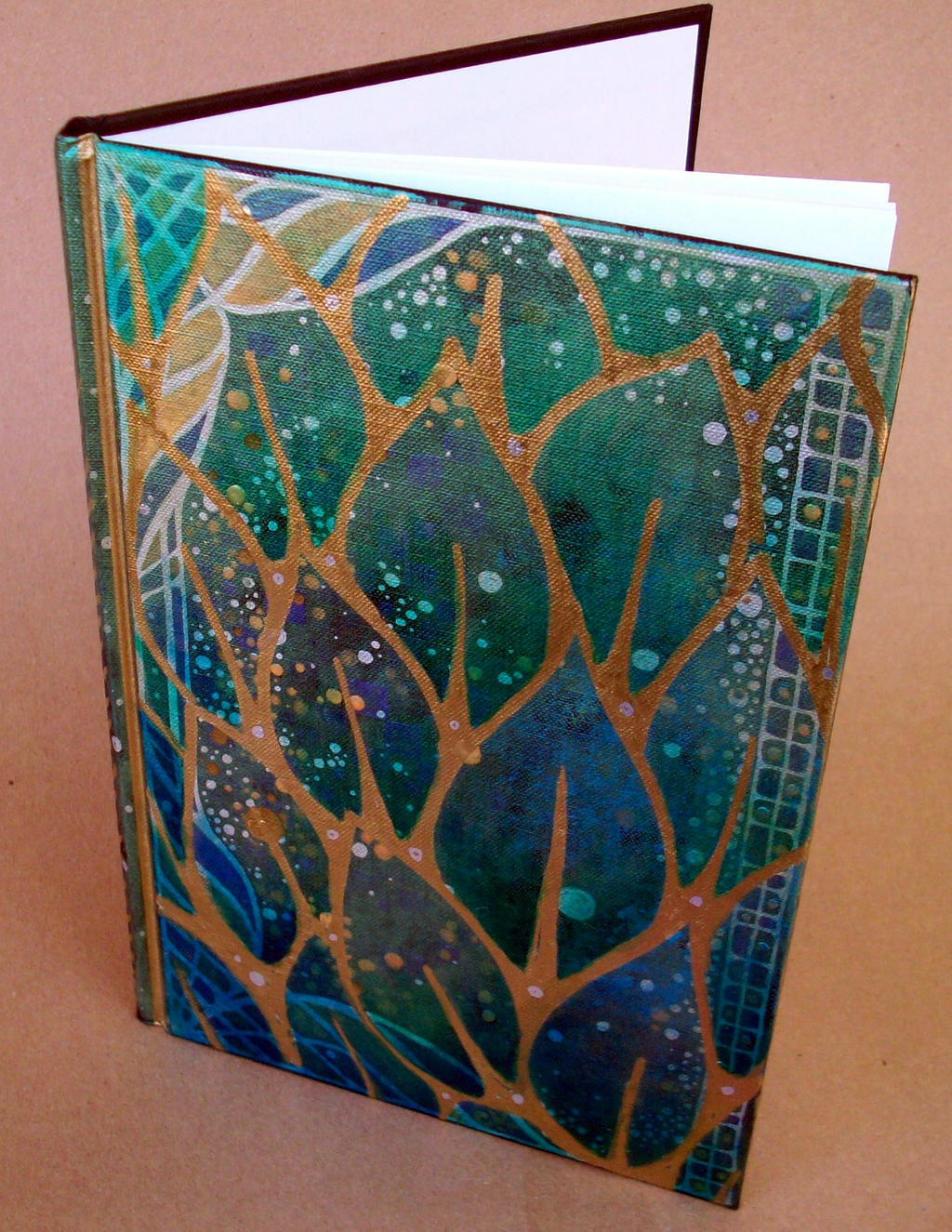 Handmade Art Book Cover : Hand painted leaves journal by mandarinmoon on deviantart