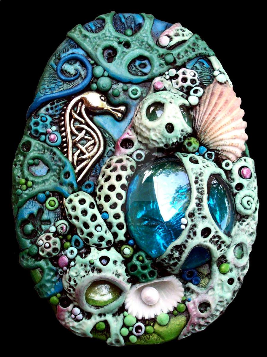 Polymer Clay Coral Reef Oval by MandarinMoon