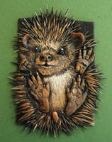 Hedgehog Polymer clay ACEO