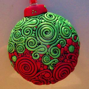 Red Green Filigree Ornament 2