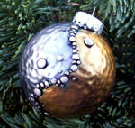 Metallic Silver and Gold Polymer Clay Ornament