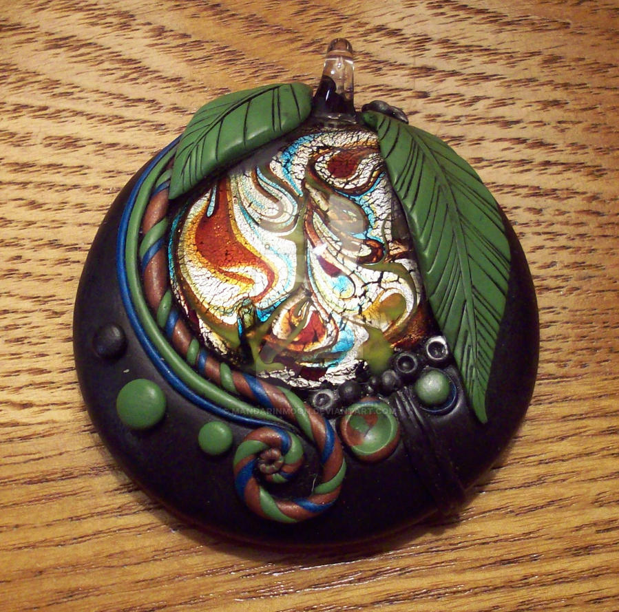 Dichroic Glass and Polymer Clay Pendant by MandarinMoon