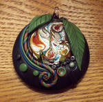 Dichroic Glass and Polymer Clay Pendant