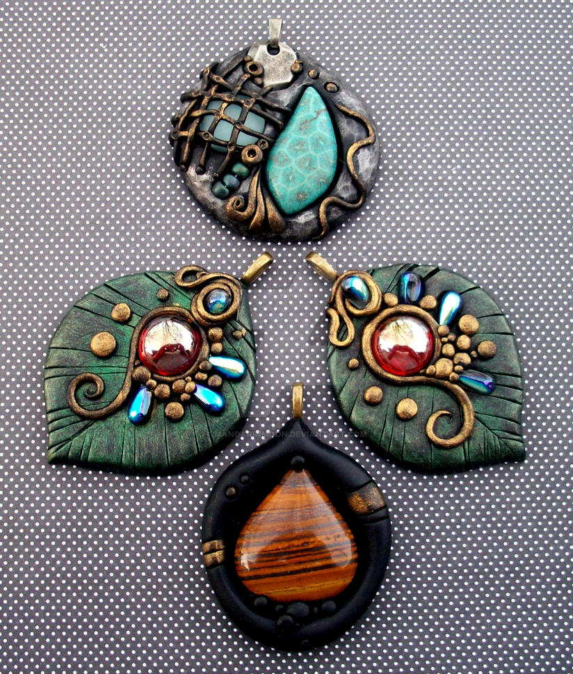 Polymer clay pendants by mandarinmoon on deviantart polymer clay pendants by mandarinmoon aloadofball Images
