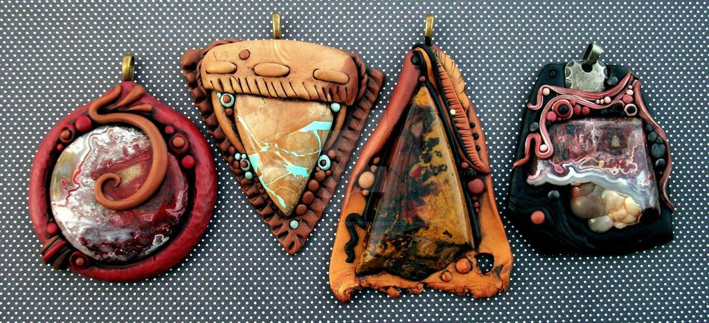 Polymer Clay Pendants Custom Order by MandarinMoon