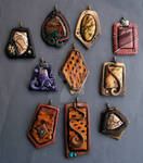 Pendants of Polymer clay, Jasper and Cholla wood