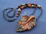 Carved Jasper Leaf Pendant Necklace