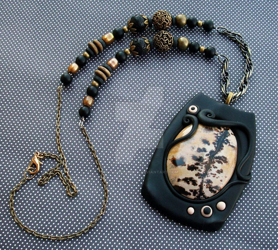 Chohua jasper necklace with polymer clay and beads by mandarinmoon aloadofball Images