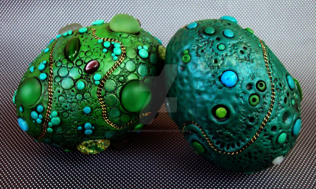 Blue Green Dragon Eggs by MandarinMoon