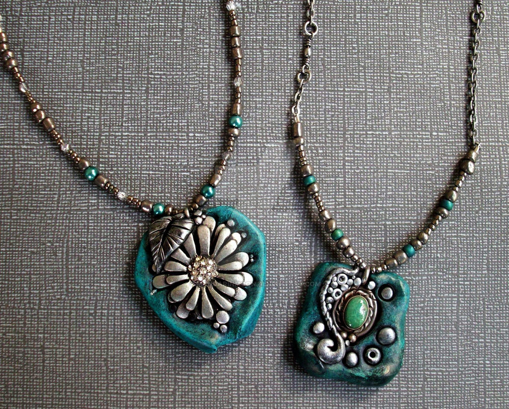 Turquoise, Silver and Polymer Clay Necklaces