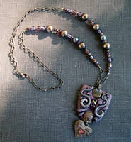 Polymer clay Lavender and Pink Heart Necklace by MandarinMoon