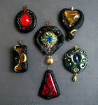 Polymer Clay Pendants Bold Colors