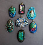 Polymer Clay Pendants Bright Colors
