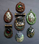 Polymer Clay Pendants Natural Group