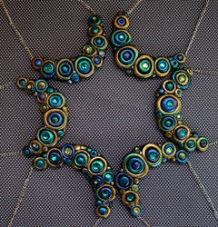 Peacock Green and Gold Bubble Necklaces by MandarinMoon