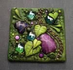 Mosaic Tile Purple Jasper and Green Leaves