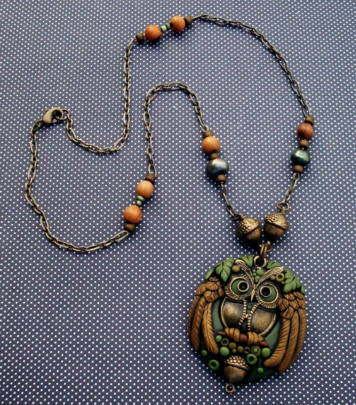Polymer clay Owl Pendant Necklace by MandarinMoon
