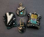 Metallic and Black Asst Polymer Clay Pendants