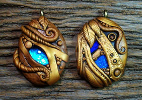 Golden Sands Polymer Clay Pendant Pair
