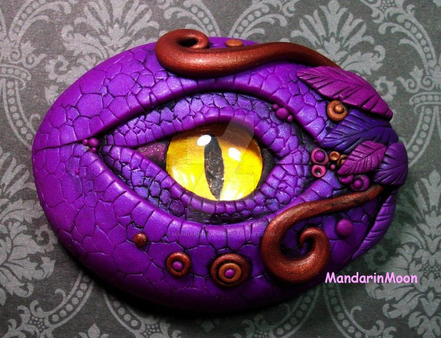 Purple and Bronze Dragon Eye Polymer Clay by MandarinMoon