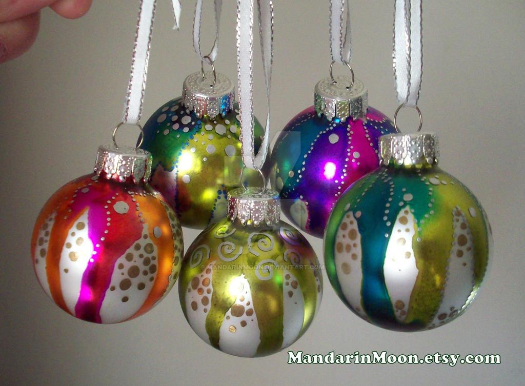 Hand painted christmas ornaments by mandarinmoon on deviantart