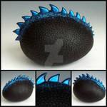 Custom Black and Electric Blue Dragon Egg