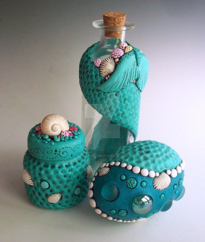 Mermaid bottles and egg by mandarinmoon on deviantart for Mermaid arts and crafts