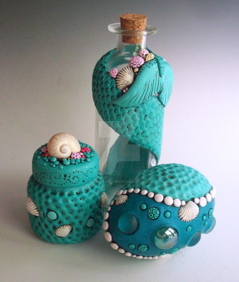 Mermaid bottles and egg by MandarinMoon